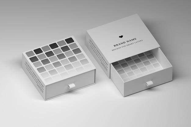 Bewerkbare psd-mockup voor briefpapier met geopende en gesloten witte geschenkdozen