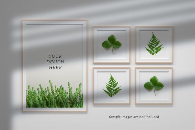 Bewerkbare psd-mockupsjabloon met een vaste verzameling van één groot a4-frame en vier vierkante frames