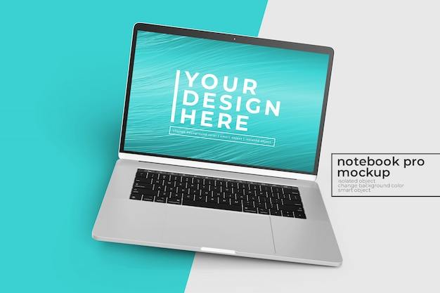 Bewerkbare realistische 15-inch laptop pro mock up-ontwerpen in rechts gedraaide positie in middenweergave