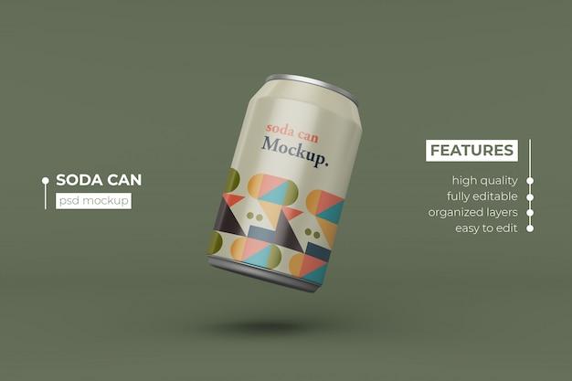 Bewerkbare realistische aluminium drank kan mockup-ontwerp