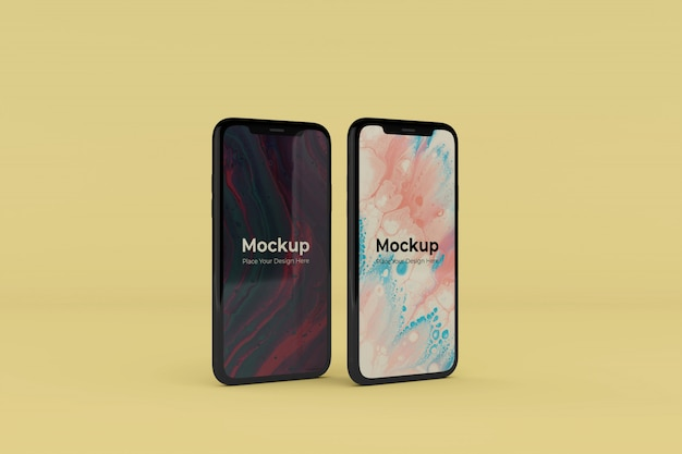 Bewerkbare realistische twee mobiele scherm mockups ontwerpsjablonen