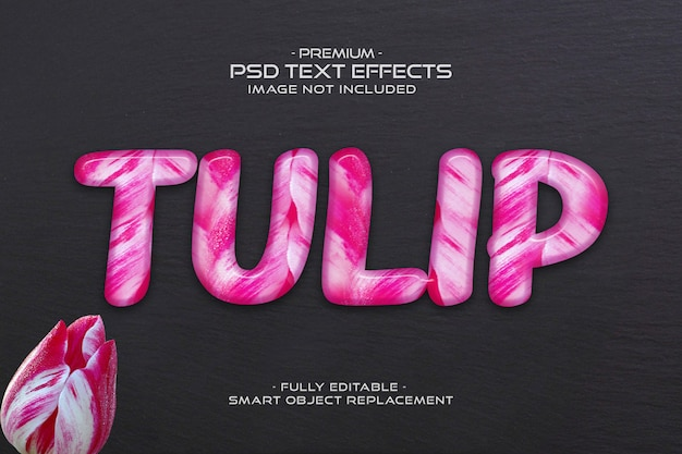 Bewerkbare roze tulp bloem tekst effect sjabloon