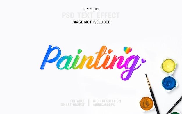 Bewerkbare schilderij kleur tekst effect sjabloon