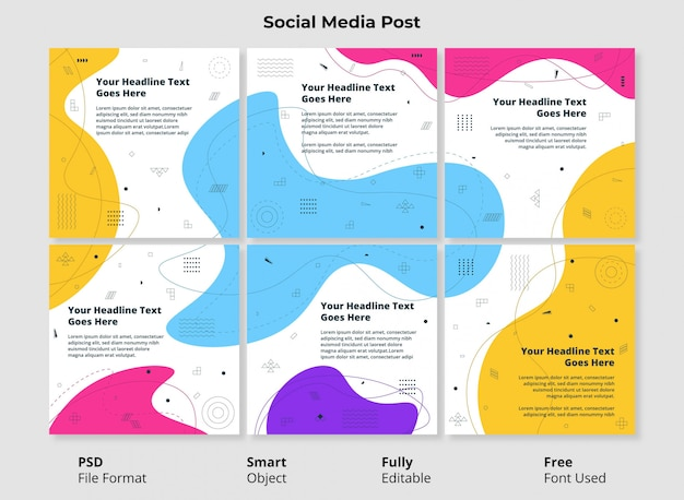 Bewerkbare sjabloon social post banner minimalistisch ontwerp eenvoudige en kleurrijke abstracte vorm met vloeibare en vloeibare vorm