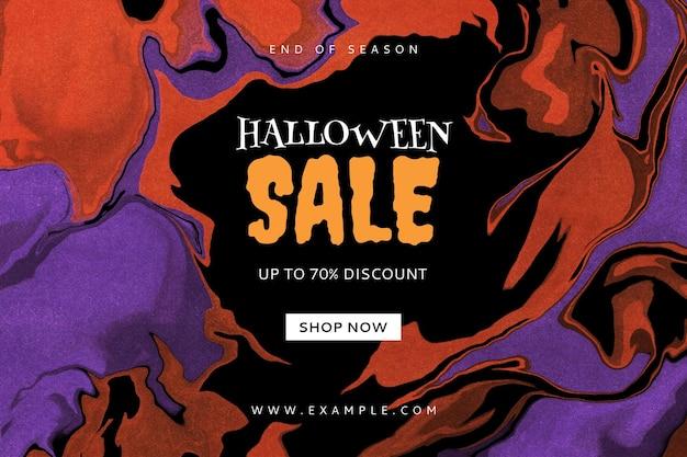 Bewerkbare sjabloon voor spandoek voor halloween-verkoop met abstracte vloeibare marmeren achtergrond