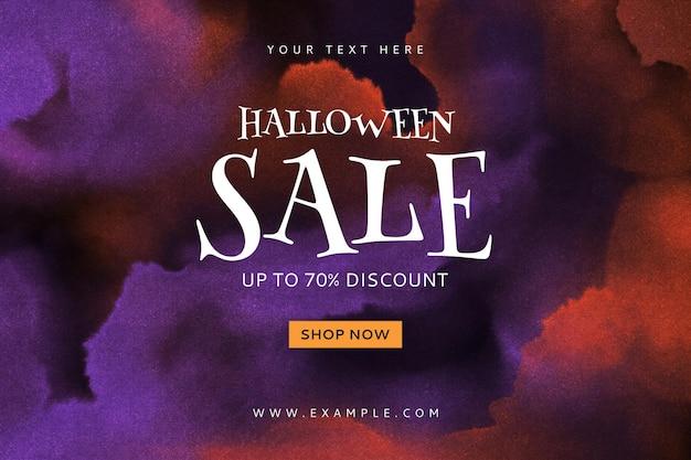 Bewerkbare sjabloon voor spandoekverkoop voor halloween-website