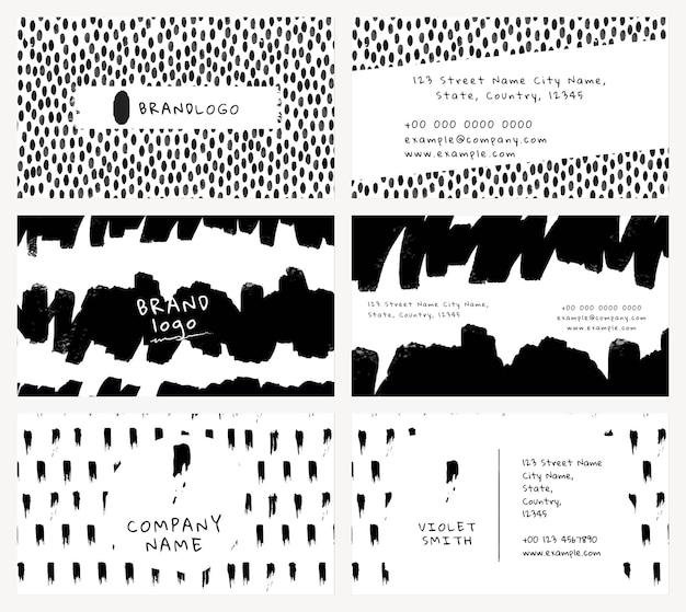 Bewerkbare sjabloon voor visitekaartjes psd met inktborstelpatroonset