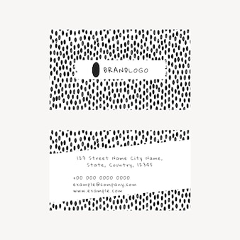 Bewerkbare sjabloon voor visitekaartjes psd met inktpenseelpatroon