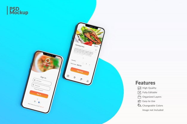 Bewerkbare smartphone-mock-ups om de concept-sjabloon voor voedsel-apps weer te geven