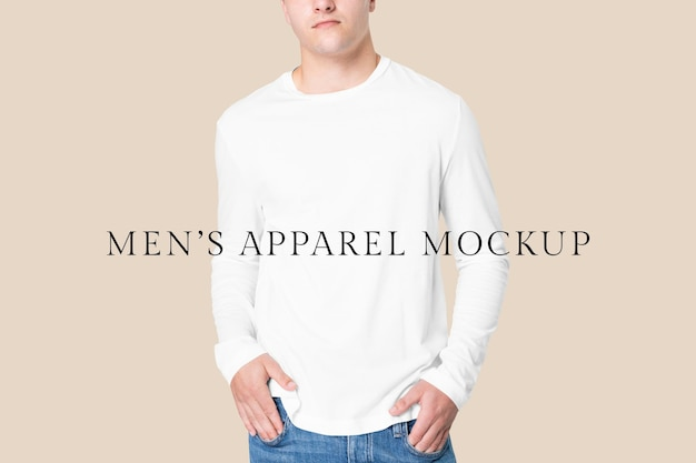 Bewerkbare t-shirt psd mockup sjabloon winterkleding shoot met lange mouwen