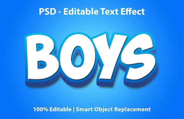 Bewerkbare teksteffect jongens