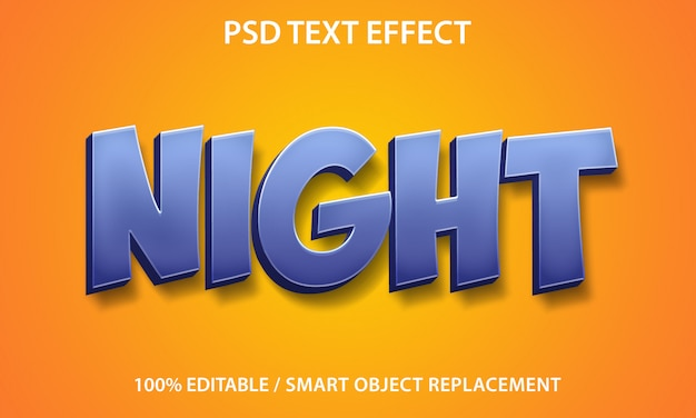 Bewerkbare teksteffect nacht Premium Psd
