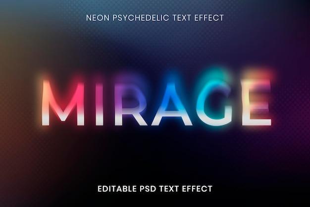 Bewerkbare teksteffect psd-sjabloon, neon psychedelische typografie