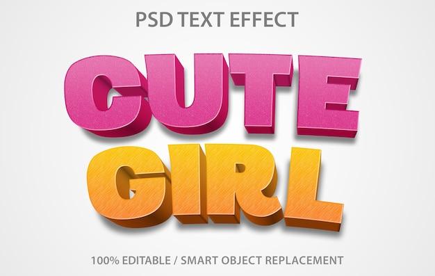 Bewerkbare teksteffect schattig meisje sjabloon