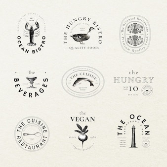 Bewerkbare vintage badge-sjabloon psd voor restaurantset, geremixt van kunstwerken in het publieke domein