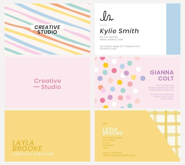Bewerkbare visitekaartjesjabloon psd in schattige pastelpatroonset