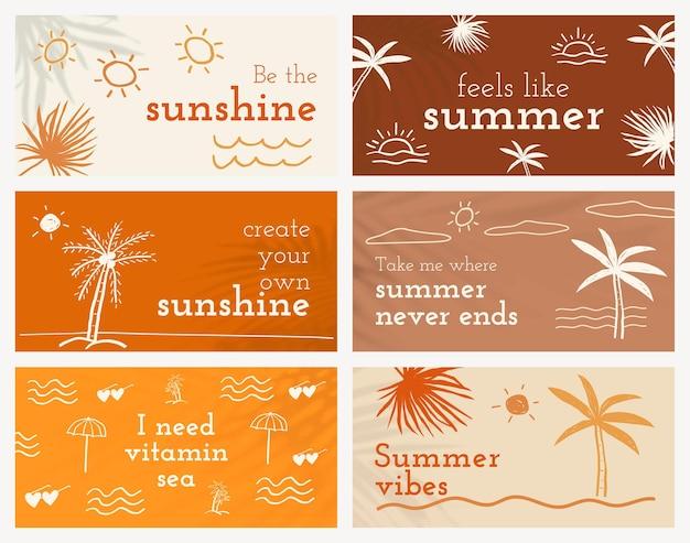 Bewerkbare zomersjablonen psd met schattige doodle-set voor banner voor sociale media