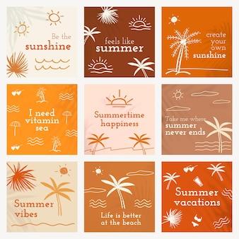 Bewerkbare zomersjablonen psd met schattige doodle-set voor posts op sociale media