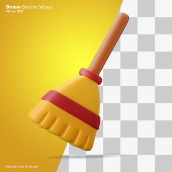 Bezem vegen herfst 3d illustratie weergave pictogram bewerkbaar geïsoleerd