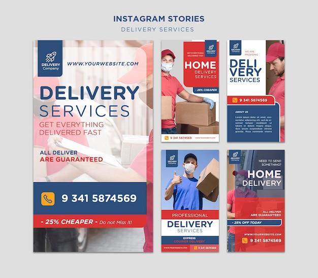 Bezorgdiensten instagram verhalen sjabloon