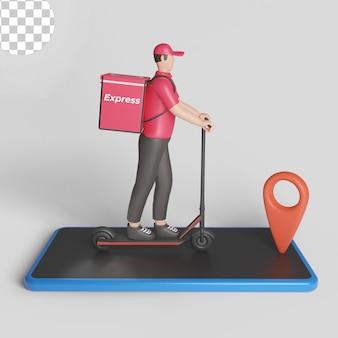 Bezorgservice met scooter en smartphone concept. psd premium
