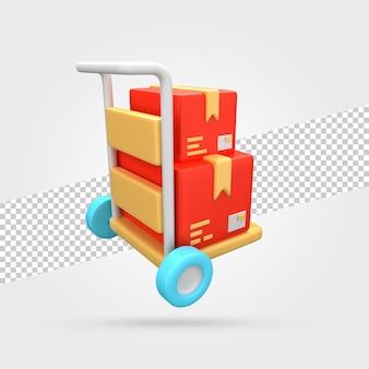 Bezorgwagen met pakketten 3d render