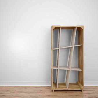 Biblioteca creativa de madera con estantes diagonales