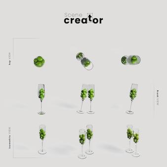 Bicchieri con olive varietà angoli creatore scena di natale