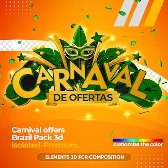 Biedt carnaval-logo voor bedrijven in 3d-weergave