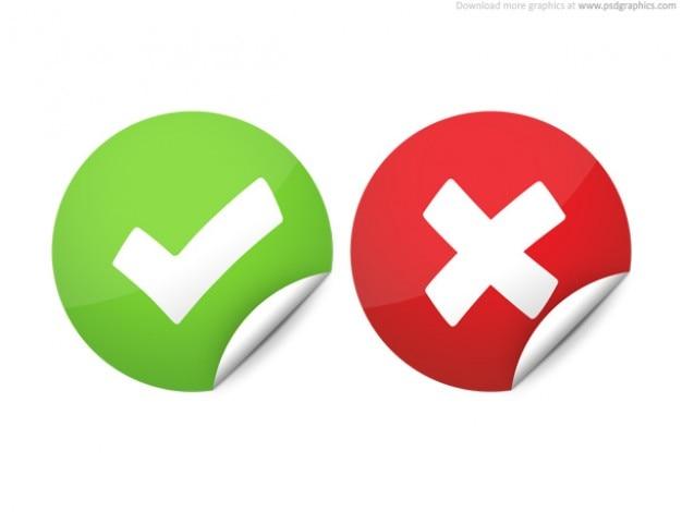 Bien y el mal marcas de verificación