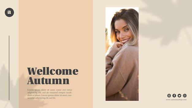 Bienvenido otoño plantilla web con mujer sonriente