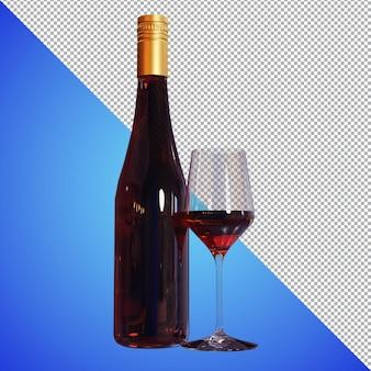 Bier of wijn 3d render voor voorbeeldafbeeldingen en voorbeeld prpduct