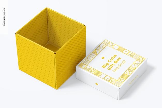 Big cube gift box mockup, geopend