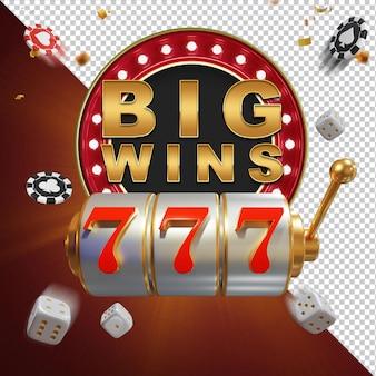Big win jackpot casino 3d samenstelling geïsoleerde laag