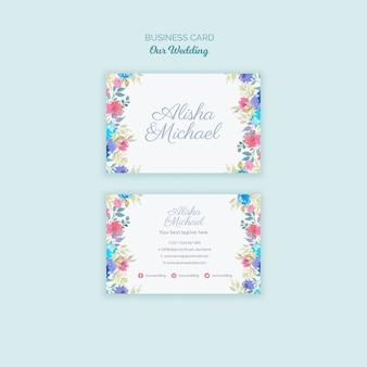 Biglietto da visita colorato concetto di matrimonio
