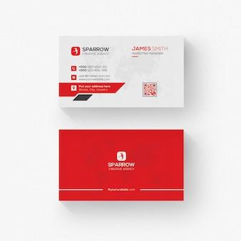 Biglietto da visita moderno con dettagli rossi