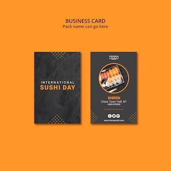 Biglietto da visita per la giornata internazionale del sushi