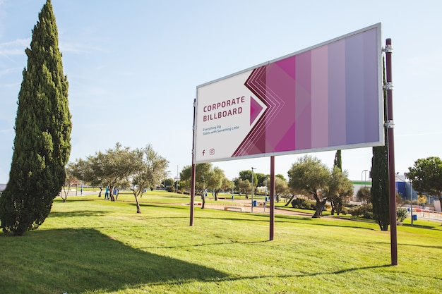Billboard mockup in park