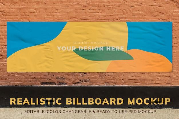 Billboard mockup, reclamebord psd aan de muur