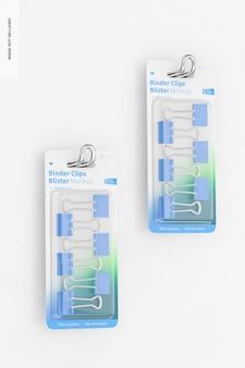 Binder clips blister mockup, hangend aan de muur