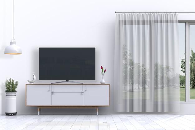 Binnen woonkamer met smart tv en decoraties