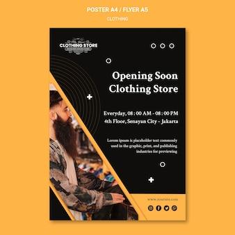 Binnenkort geopend kledingwinkel poster sjabloon