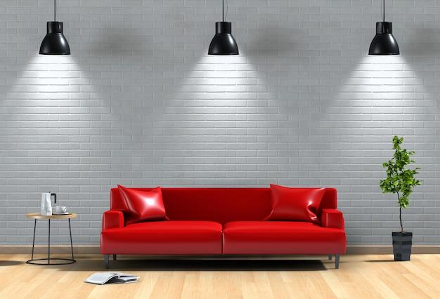 Binnenlandse de verlichtingsbakstenen muur van de woonkamer met bank