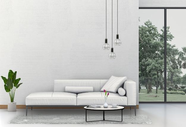 Binnenlandse moderne woonkamer met bank, installatie, lamp