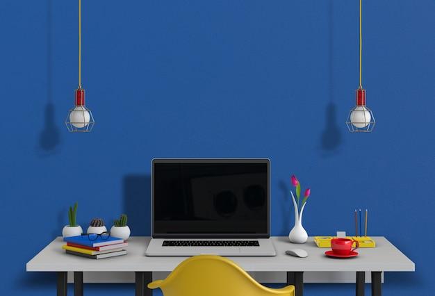 Binnenlandse moderne woonkamerwerkruimte met laptop computer