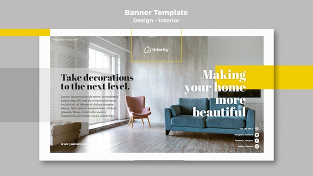 Binnenlandse ontwerp horizontale banner