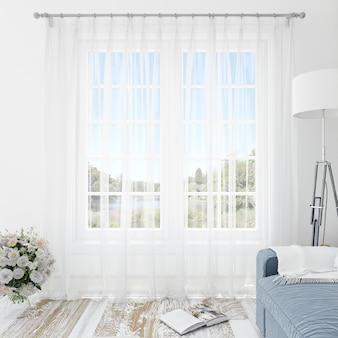 Binnenlandse ruimte met witte gordijnen