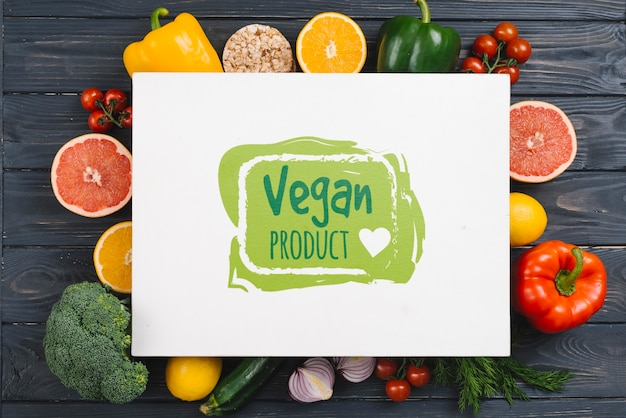 Bio prodotti alimentari vegani mock-up