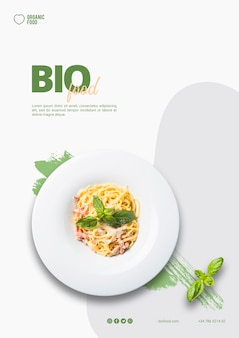 Bio voedsel flyer sjabloon met foto