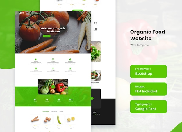 Biologisch gezond voedsel website landing sjabloonontwerp